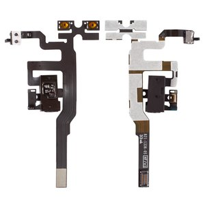 Flat Cable for Apple iPhone 4S Cell Phone, (sound button, headphone connector, black, with components)